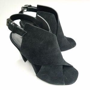 All Saints Ulla Suede Slingback Peep Toe Sandals 6